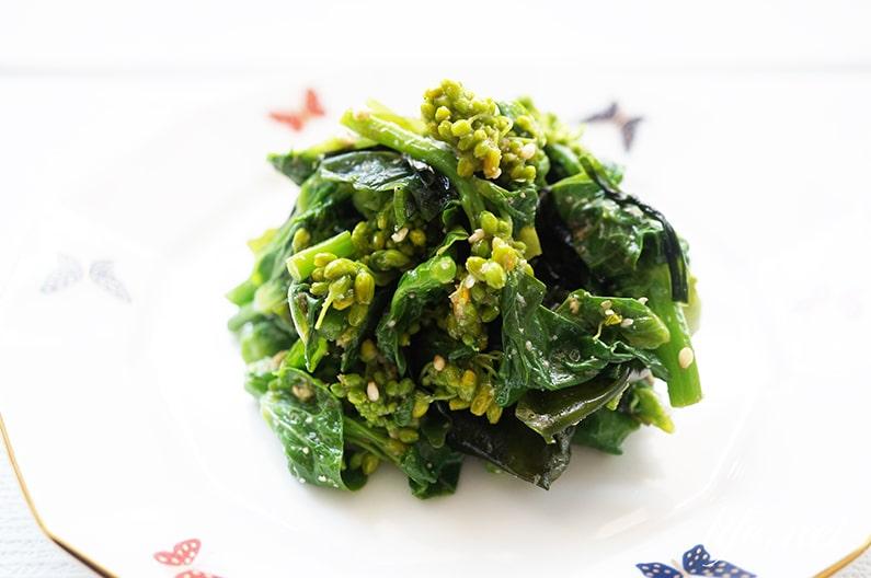 菜の花とわかめのごま酢あえの作り方。大原千鶴さんのレシピ。