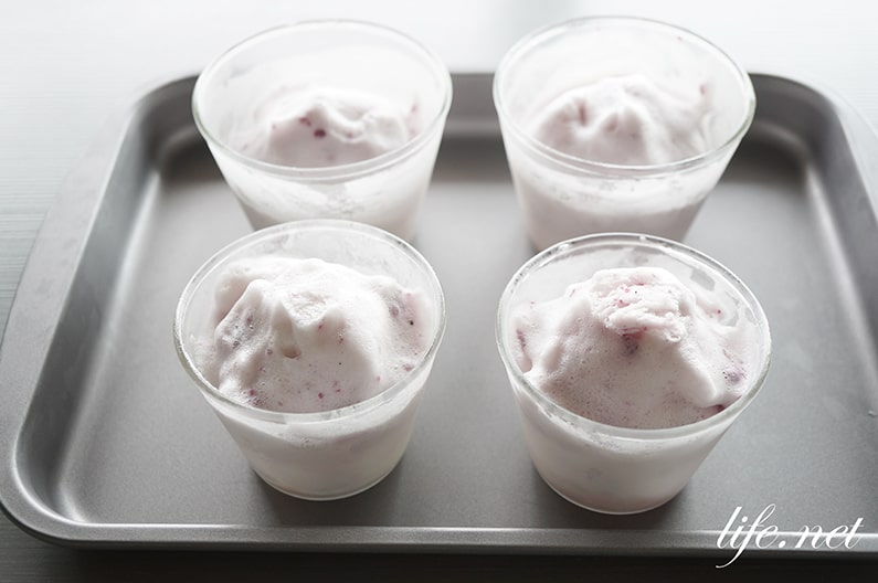メレンゲアイスの作り方。冷凍すると卵白の泡がアイスクリームに!