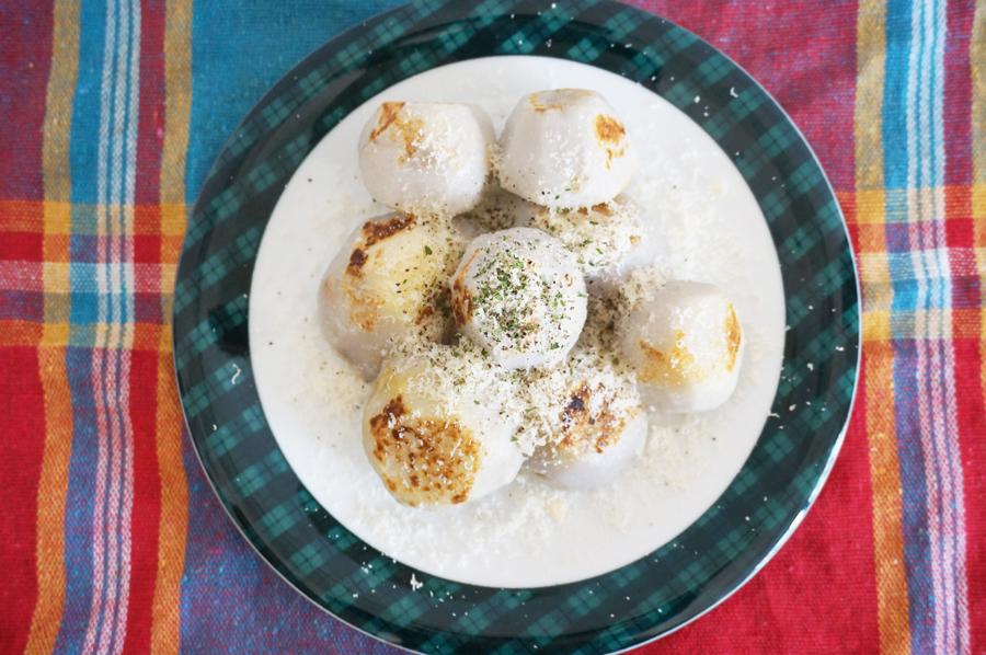 男子ごはん里芋のカリカリ焼きパルミジャーノがけレシピ