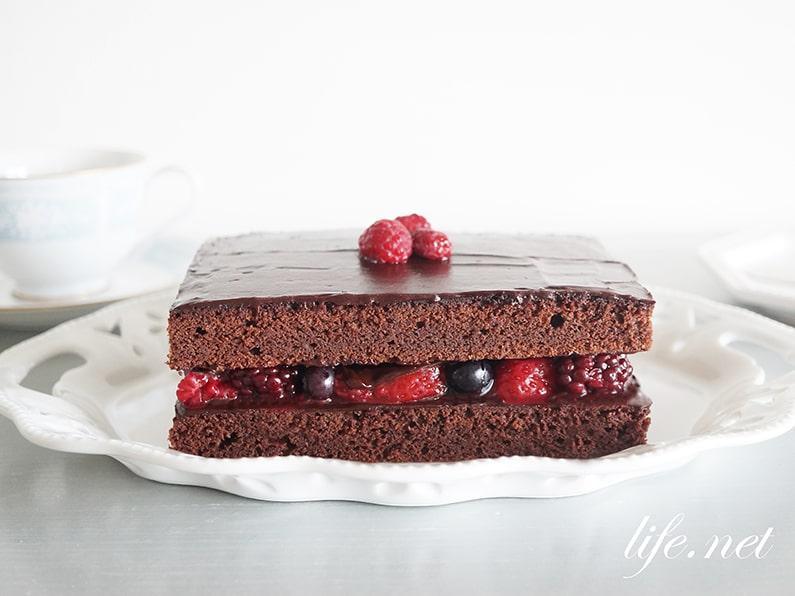 ラズベリーチョコレートケーキのレシピ。冷凍ラズベリーで簡単!