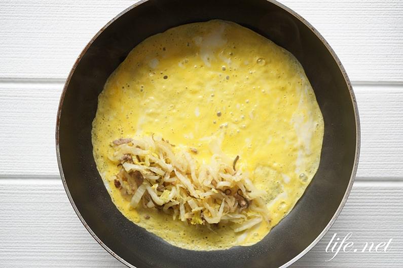 白菜オムレツのレシピ。ひき肉入りで簡単&絶品。