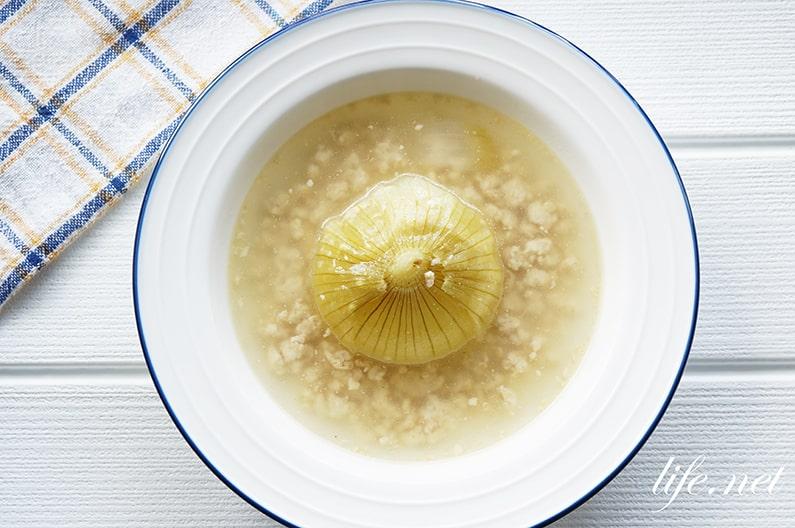 玉ねぎ丸ごとあんかけのレシピ。レンジで簡単!ひき肉のソースで。
