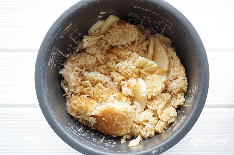 相葉マナブのたけのこご飯のレシピ。油揚げ入り、漬け物がよく合う!