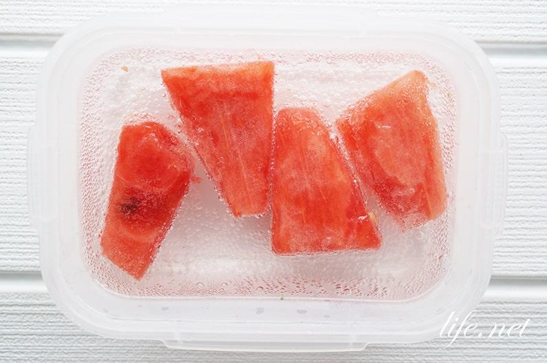 炭酸スイカ(炭酸フルーツ)の作り方。ドライアイスか炭酸水で簡単!