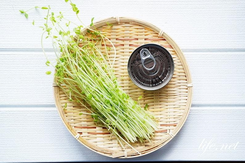 豆苗のツナ和えのレシピ。ごま油で簡単!無限豆苗の作り方。