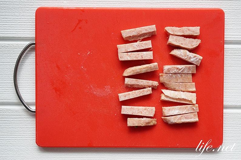 ゴーヤとスパムの天ぷらのレシピ。子供が喜ぶスティック揚げ。