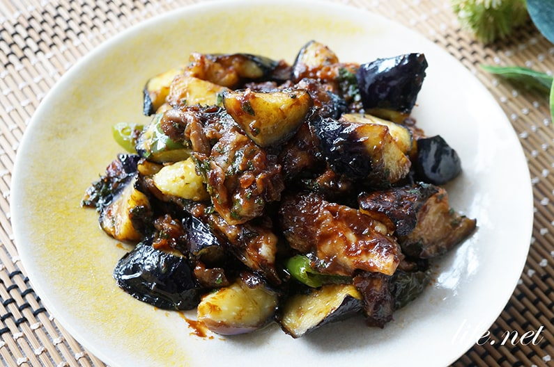 平野レミさんのなすのシソ味噌のレシピ。ご飯が進むおかずです。