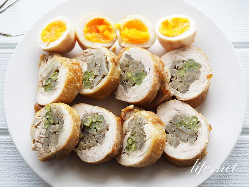 ごぼうといんげんの鶏チャーシューのレシピ。八幡巻きアレンジに。