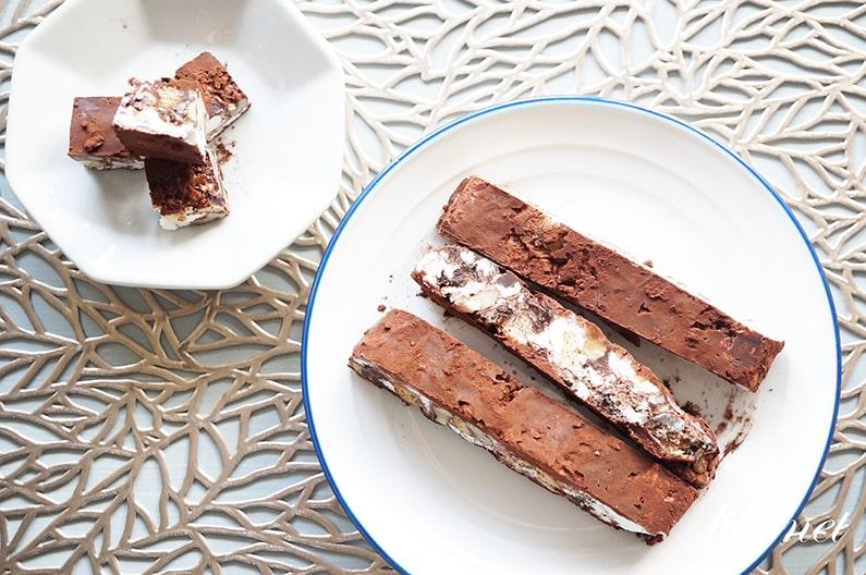 マシュマロチョコレートバーのレシピ。混ぜて冷やすだけで簡単!