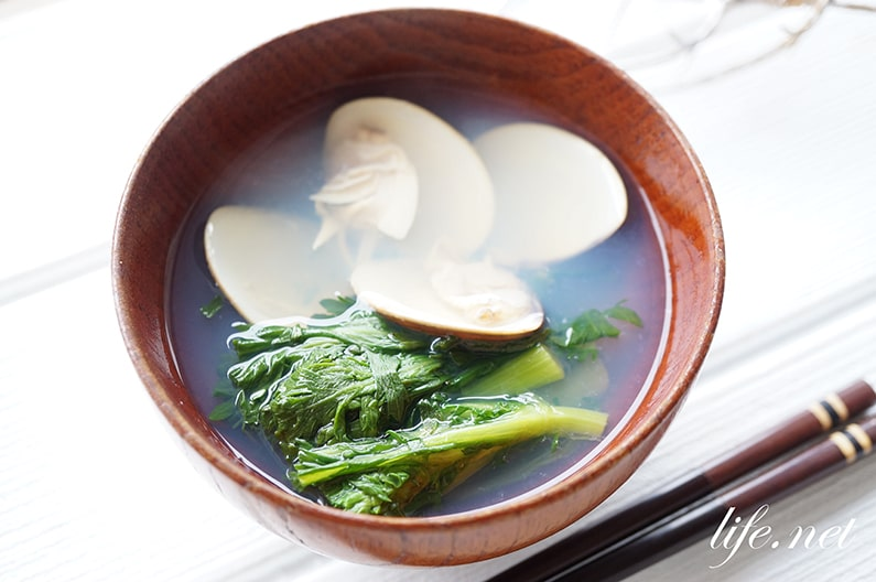 はまぐりのお吸い物、菜の花添えのレシピ。プロの潮汁の作り方。