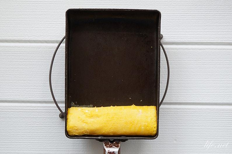 教えてもらう前と後の卵焼きのレシピ。水と弱火でふわふわに仕上がる!