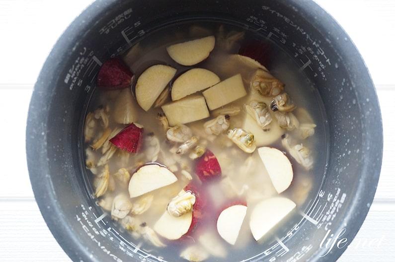 さつまいもとあさりの炊き込みご飯のレシピ。ソレダメで話題。