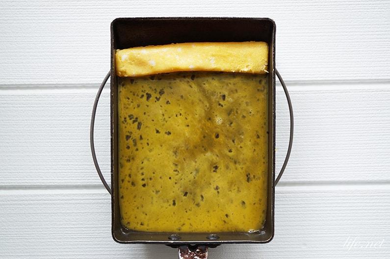 水と卵で弱火で作るふわふわ卵焼きのレシピ