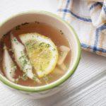 あさイチのチキンスープのレシピ。鶏肉のゆで汁でできる簡単スープ。