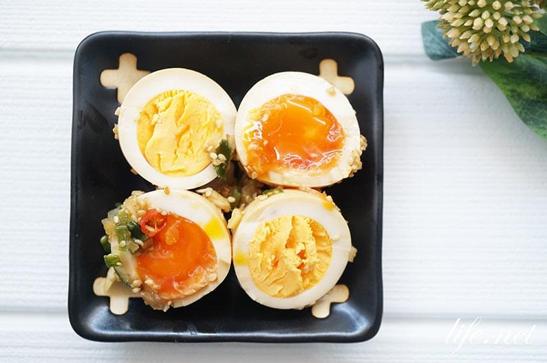 ハナタカの茹で卵の絶品アレンジ。しょうゆ&薬味の味付け煮卵。