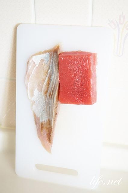 男子ごはんの手こね寿司のレシピ。まぐろとかつおの手こね寿司。