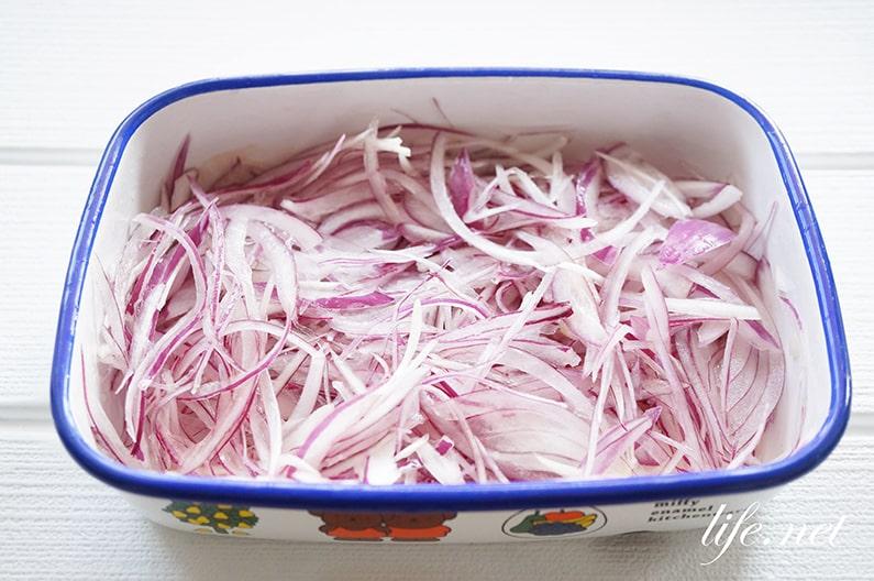 紫玉ねぎのマリネのレシピ。きょうの料理で話題の酢漬け玉ねぎ。
