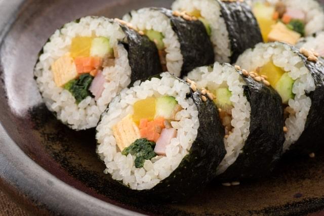 キンパのレシピ。ヒルナンデスで話題の韓国風海苔巻き。お弁当にも。