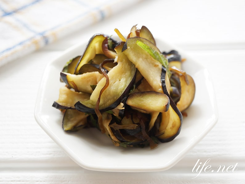 なすと塩昆布の浅漬けのレシピ。大葉と酢でさっぱりと。