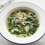 モロヘイヤと卵のスープのレシピ。溶き卵のシンプルなスープ。