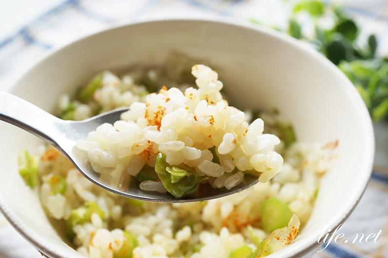 ハナタカのアスパラガスご飯のレシピ。バターとめんつゆで簡単!