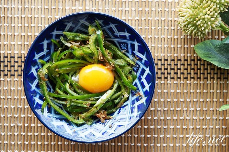 ピーマンユッケのレシピ。千切りにおかかと黄身で絶品に。
