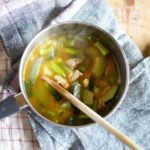 男子ごはんのなすと梅肉のスープのレシピ。梅干し入りのスープです。