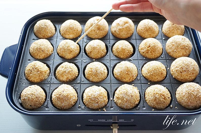 たこ焼き器で作るごま団子のレシピ。あさイチの揚げない作り方。