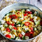 あさイチのエビのライスサラダのレシピ。ドレッシングで和えるだけ。