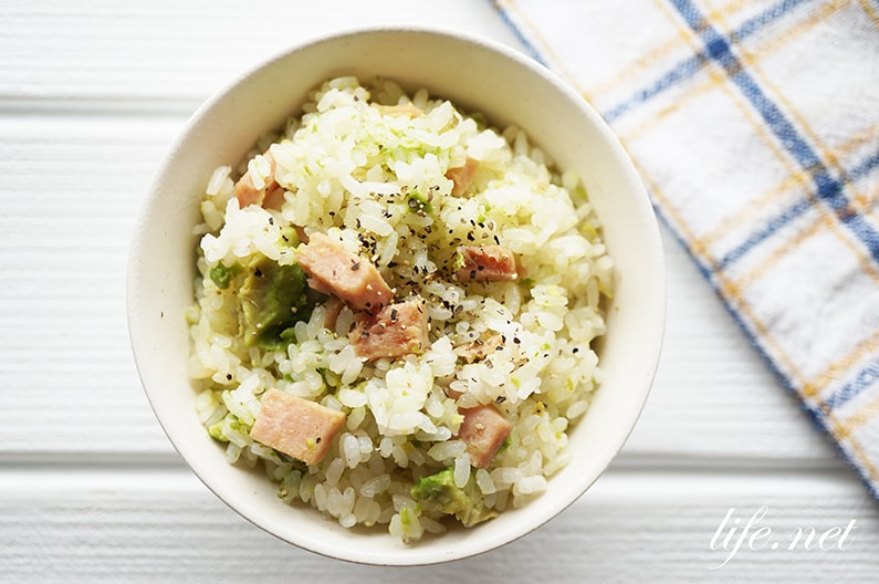 スパムとアボカドの炊き込みご飯のレシピ。教えてもらう前と後で話題。