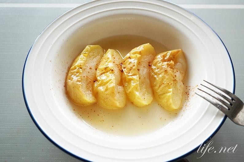 電子レンジ焼きりんごのレシピ。教えてもらう前と後で話題。