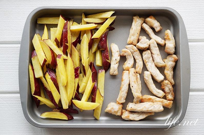 さつまいもと豚肉の揚げ焼き大学芋風のレシピ。絶品おかず!
