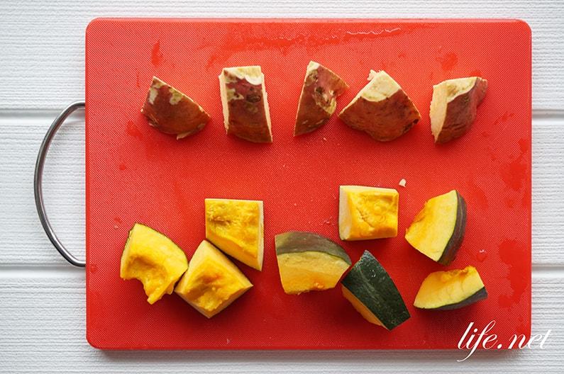 舞茸味噌汁のレシピ。さつまいもとかぼちゃの秋のみそ汁。