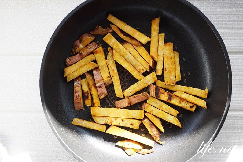さつまいものバターポン酢醤油炒めのレシピ。おやつにも最高です。