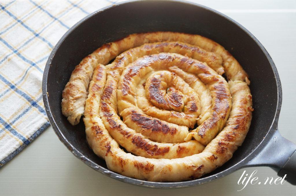平野レミさんの長ネギのとぐろ巻きのレシピ。ネギの豚バラ巻き焼き。