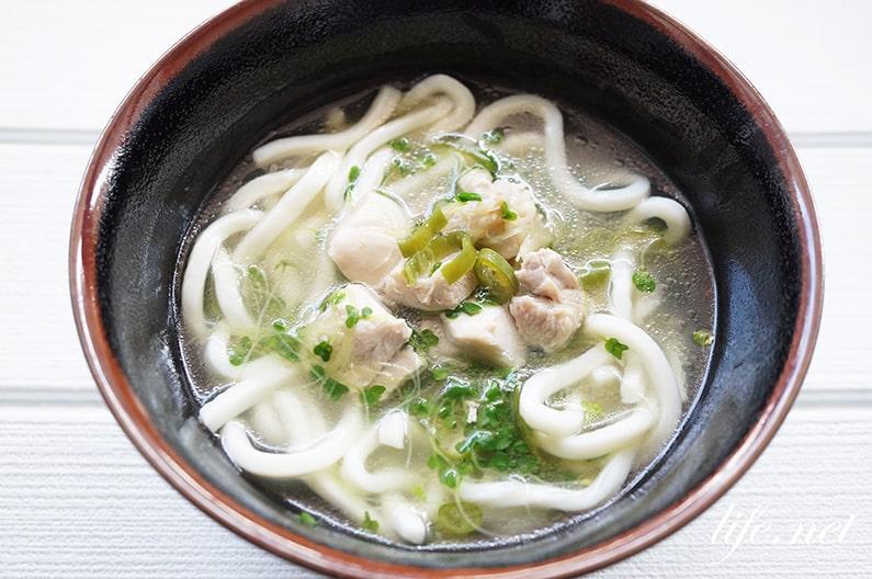 男子ごはんの鶏肉とつまみ菜のとろみうどんのレシピ。中華スープで。