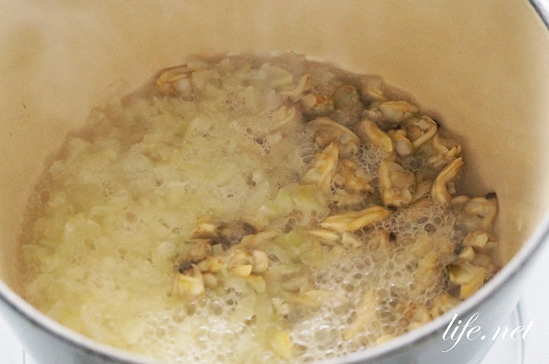 あさイチの豆苗のクラムチャウダーのレシピ。栄養豊富なスープ。
