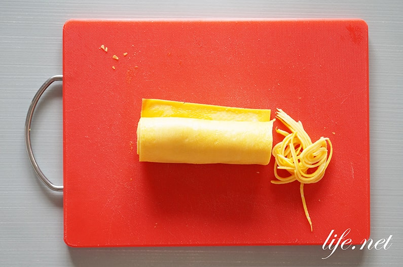 錦糸卵・薄焼き卵の焼き方と作り方。片栗粉と弱火できれいに焼ける。