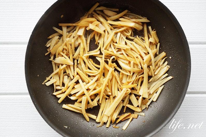 たけのこのきんぴらのレシピ。根元の部分でできる人気の作り方。