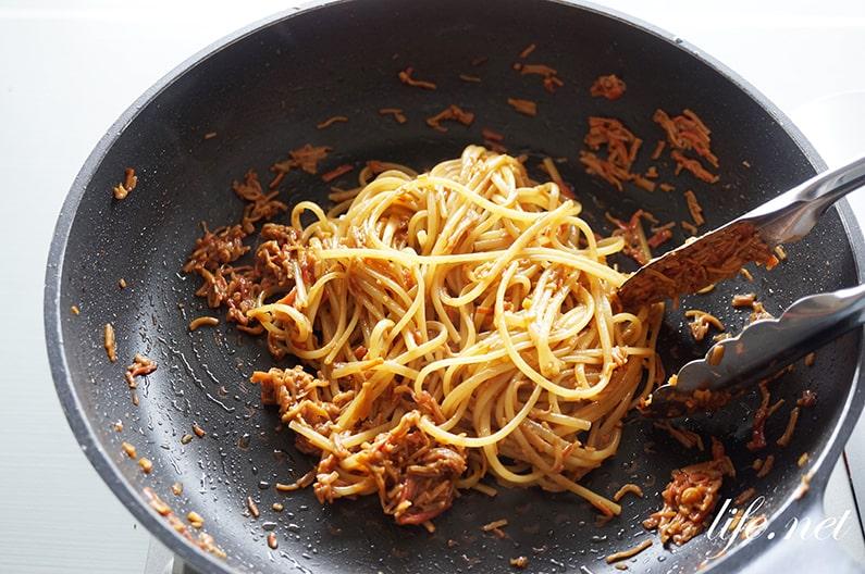 和風カニカマ味噌パスタの作り方。世界一受けたい授業で話題のレシピ。