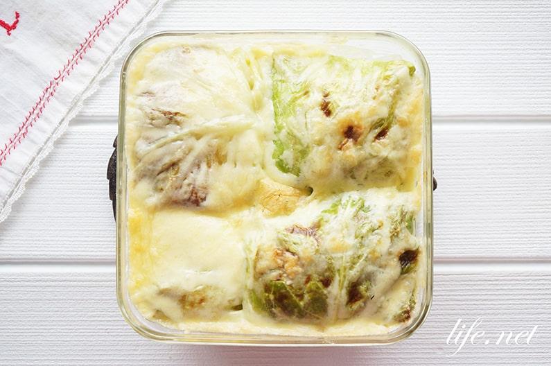 志麻さんのスパイシーロールキャベツ、オーブンチーズ焼きのレシピ。