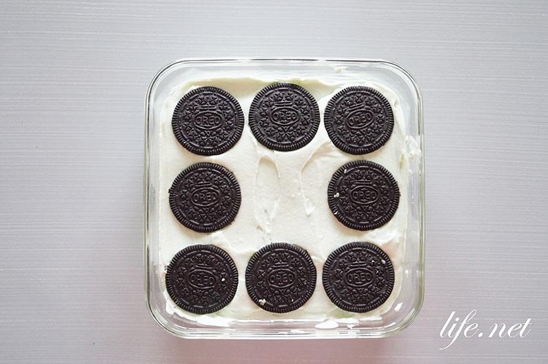 チョコミントオレオアイスボックスのレシピ。焼かないチーズケーキ。