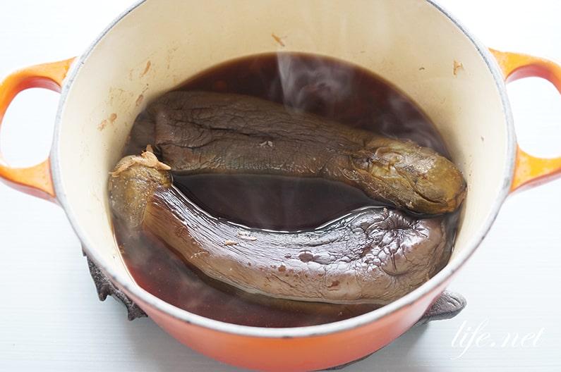 ガッテンのなすの煮物の作り方。煮汁に丸ごとのまま入れて煮るだけ。