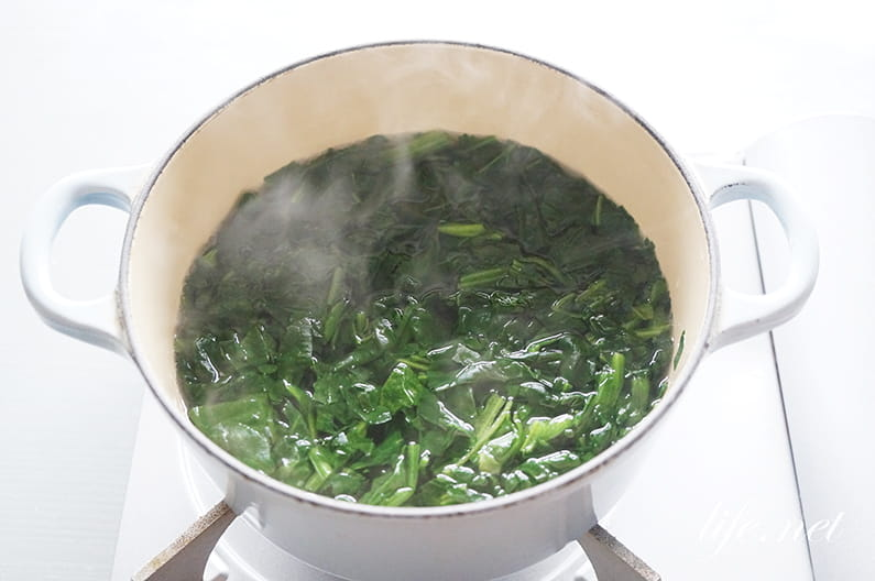 ガッテンの冷凍ほうれん草のお浸しの作り方。短時間加熱がポイント!